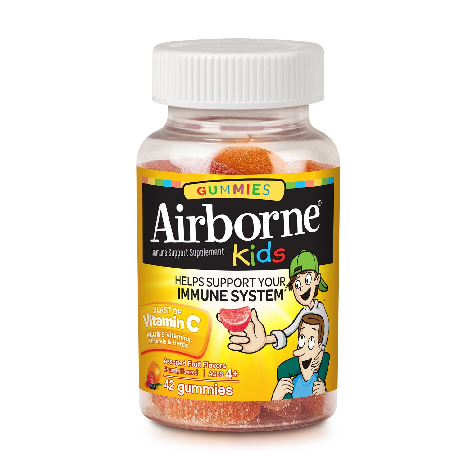 Airborne Kids Assorted Fruit Flavored Gummies, 42 count - 667mg of Vitamin C and Minerals & Herbs Immune Support (Pack of 6)