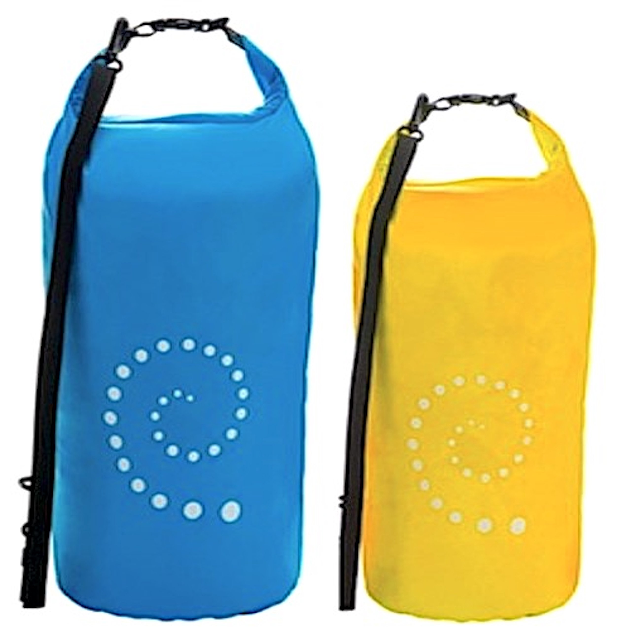 Fiddlehead ~ Blue 20L / Yellow 10L Lightweight Ultralight Waterproof Floating Dry Bag Set (2) - Roll Top Closure Compression Stuff Sacks - Be Ready For Your Next Camping, Paddling, Kayaking, Hiking