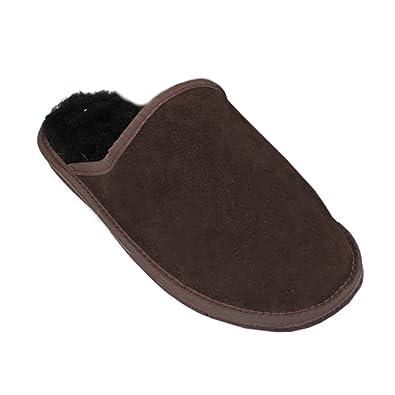 Forfus Damen Lammfell Hausschuhe Leder Gummisohle Pantoffeln, Farbe: Braun, Größe: 37