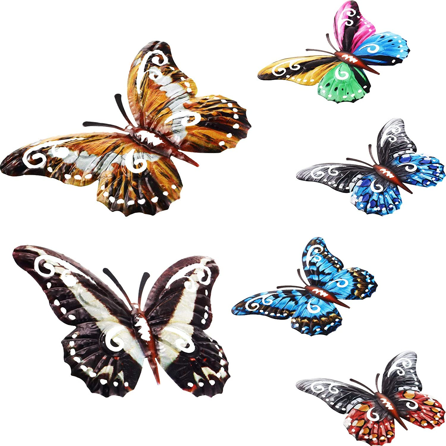 6 Pieces Metal Butterfly Wall Art Decor Butterfly Hanging Wall Decor Colorful Garden Wall Sculptures for Bedroom Living Room Office Garden Indoor Outdoor Boho Home Decor