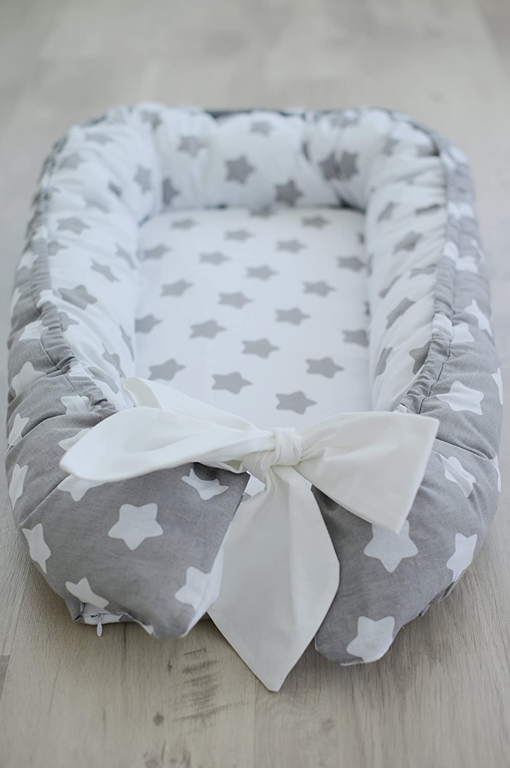 Baby Nest Crib Bedding Baby Gift Cotton Grey White