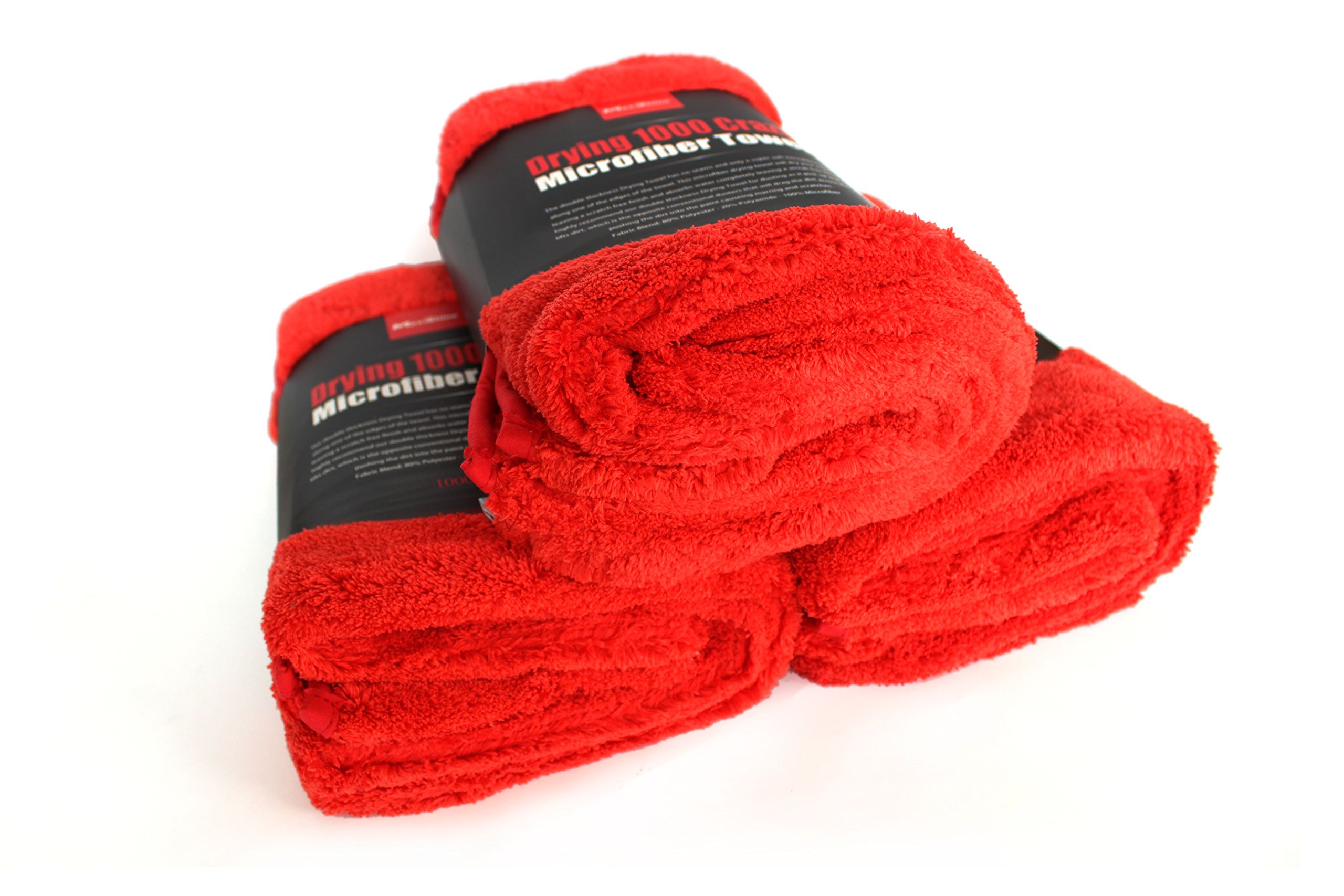 Maxshine 1000GSM Crazy Microfiber Drying Towel Series, Red, 50x70cm (Pack of 3)