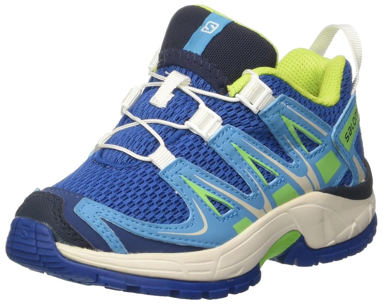 Salomon XA Pro 3D K, los Zapatos Al Aire Libre de Multideporte infantil, Azul (Deep Water/Scuba Blue/Tonic Green), 28 EU