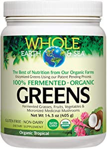Whole Earth & Sea from Natural Factors, Organic Fermented Greens, Whole Food Supplement, Vegan, Non-Dairy, Gluten Free, Tropical, 14.3 oz (30 Servings)