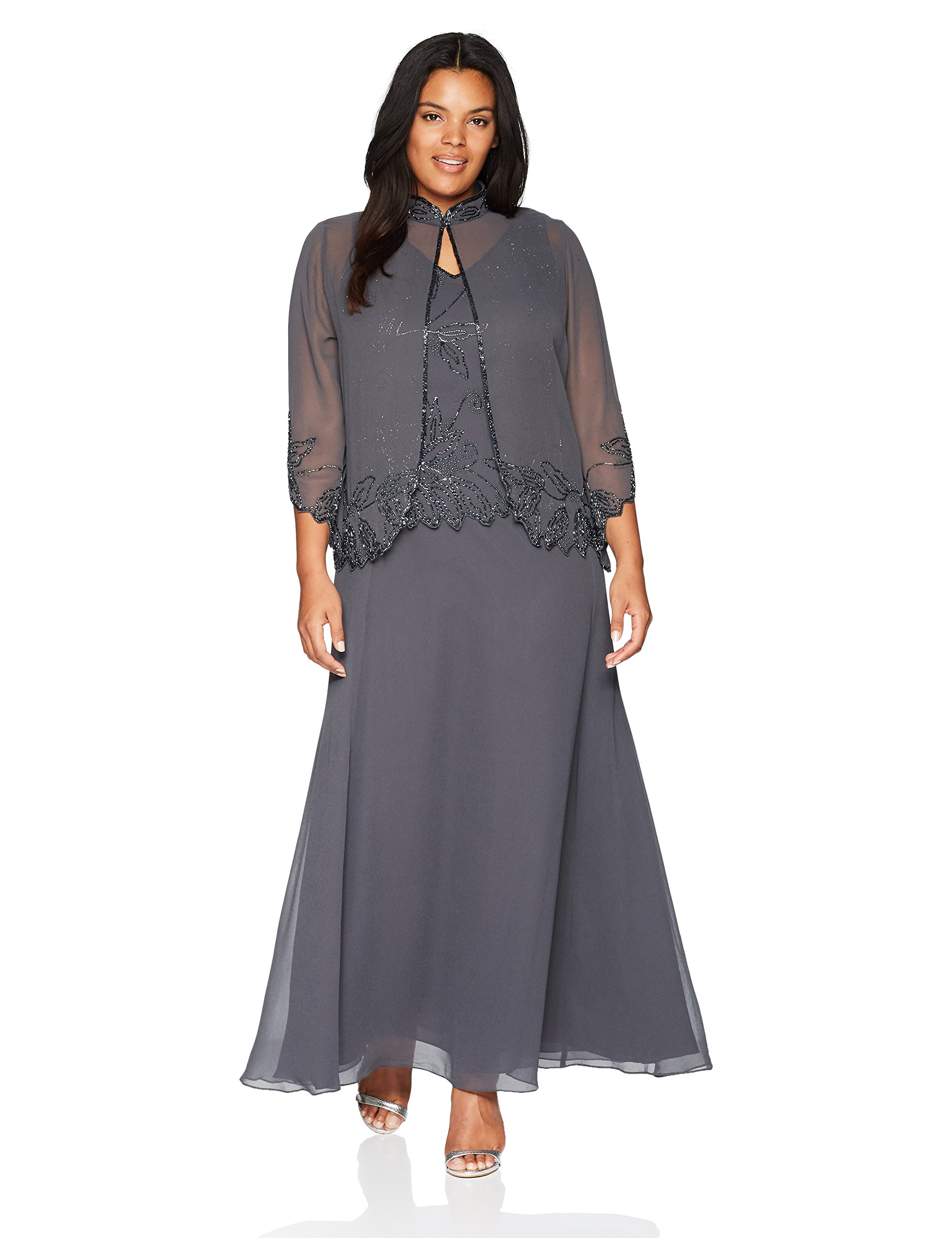 3ac57ff7f0 J Kara Women s Plus Size Beaded Long Jacket Dress