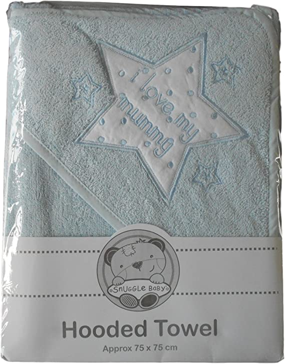 Blue I LOVE MY MUMMY Baby Hooded Bath Towel