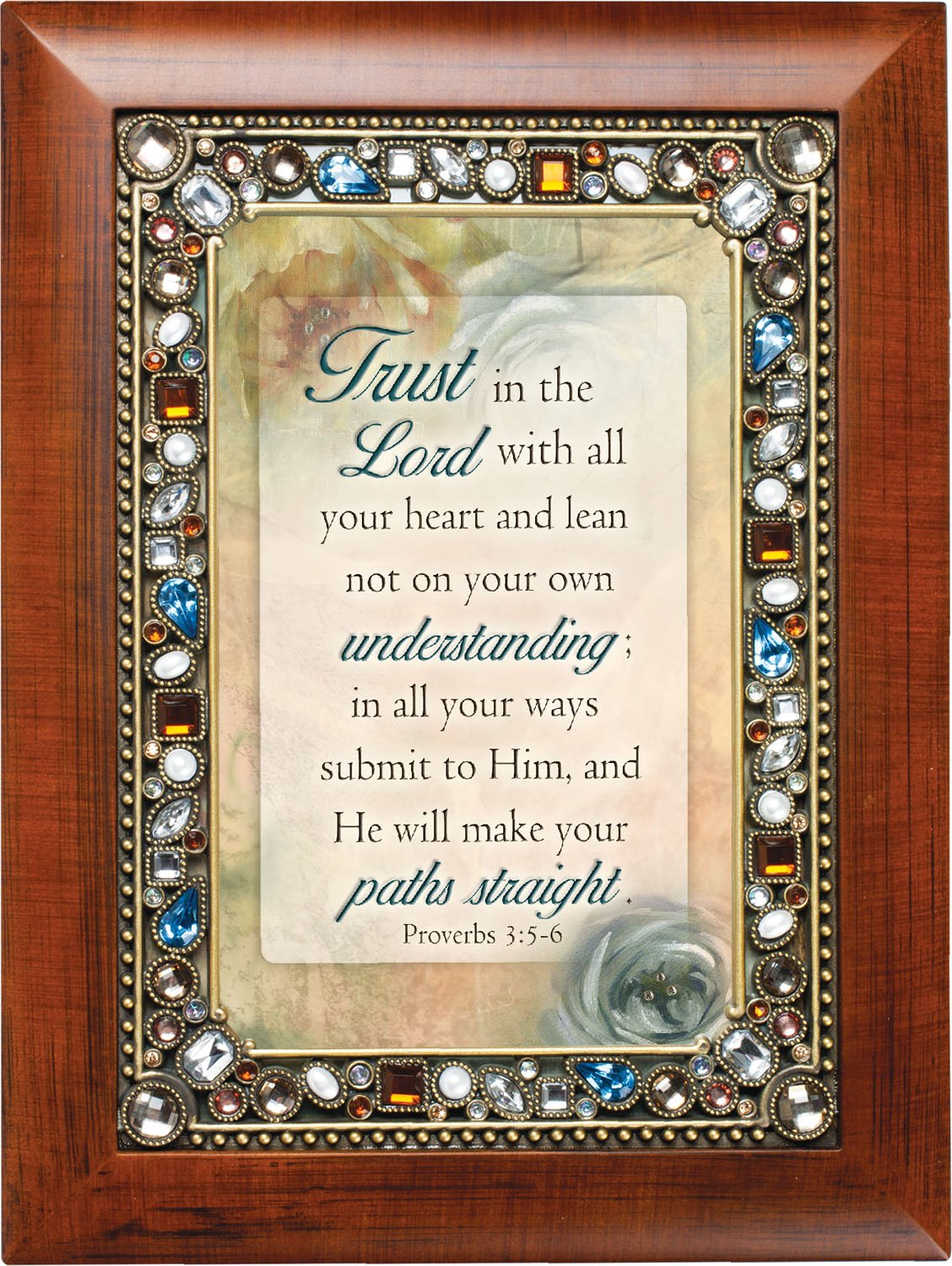 Trust in the Lord Proverbs 3 5-6 Wood Finish Jeweled 4×6 Framed Art Plaque