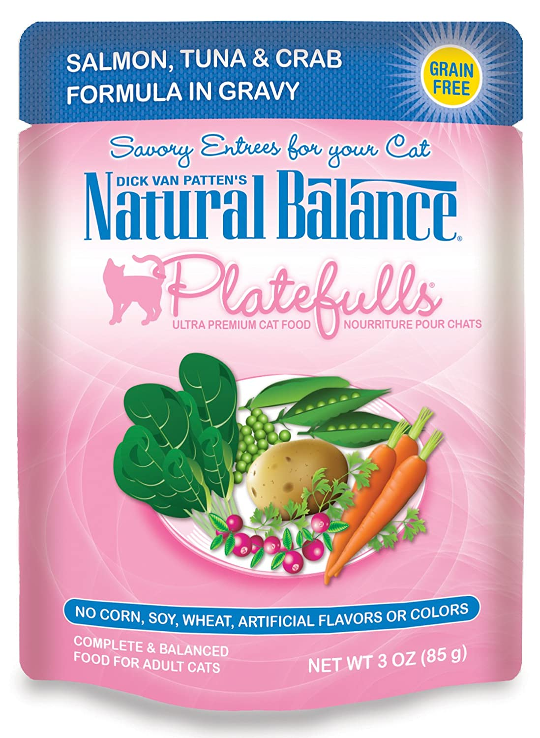 Dick Van Patten's Natural Balance Platefulls Salmon, Tuna & Crab Formula in Gravy Cat Food 3oz, Pack of 24