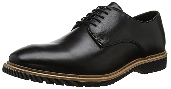Leather Chunky Sole, Zapatos de Cordones Derby para Hombre, Negro (Black), 43 EU New Look