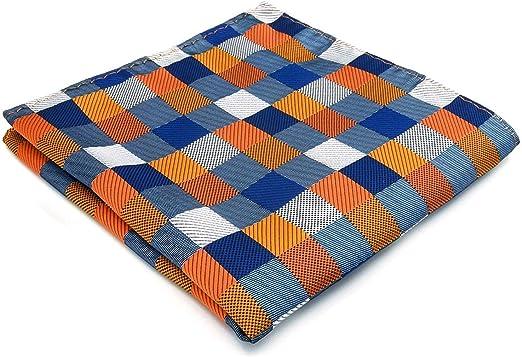 S/&W SHLAX/&WING Classic Handkerchief for Men Blue Orange Flower Pocket Square 12.6