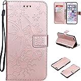 iPhone 6S / 6 ケース CUSKING 手帳型 ケース ストラップ付き かわいい 財布 カバー カードポケット付き Apple アイフォン 6 アイフォン6S マジックアレイ ケース - ローズゴールド