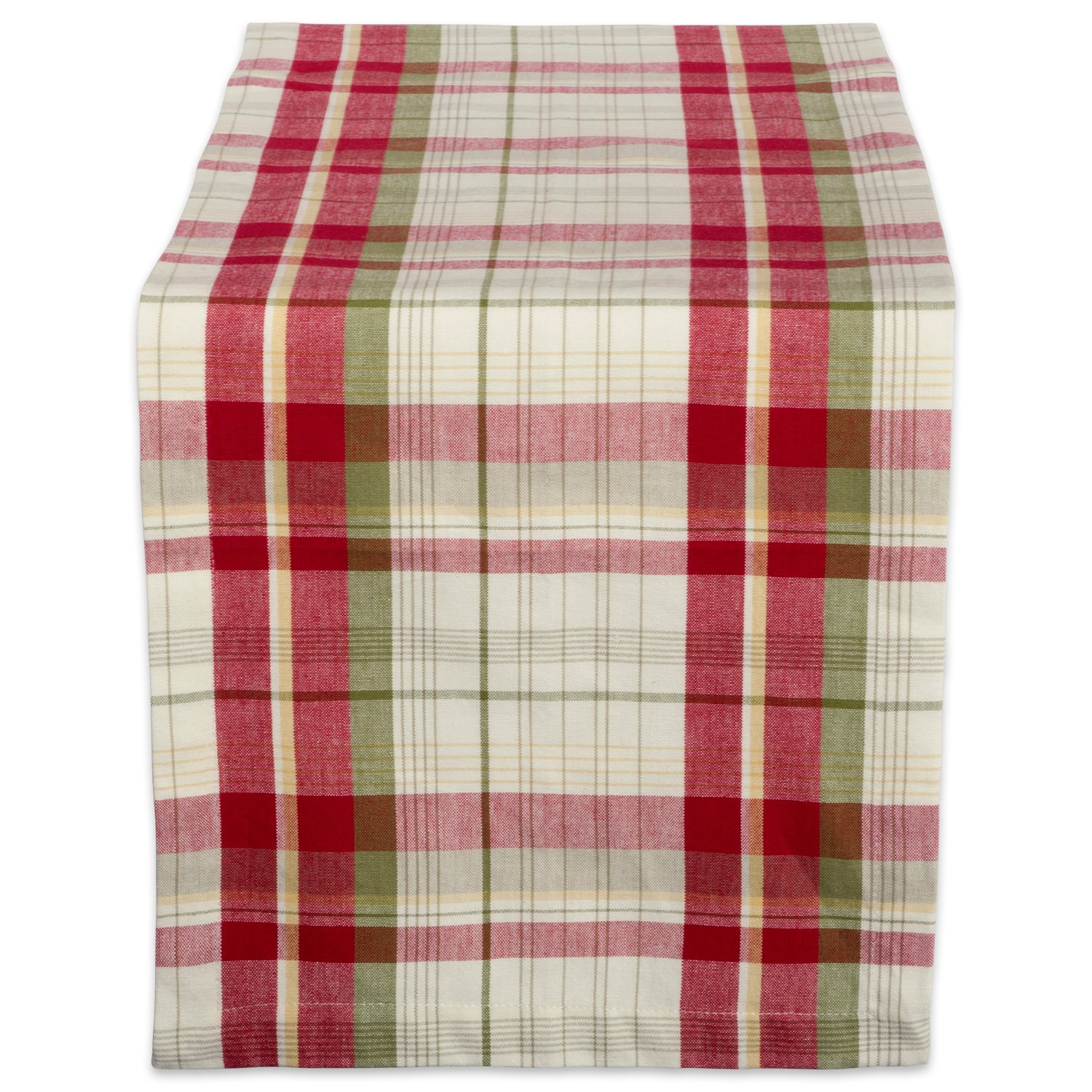 Orchard Plaid Cotton Fabric Christmas Table Runner - ChristmasTablescapeDecor.com