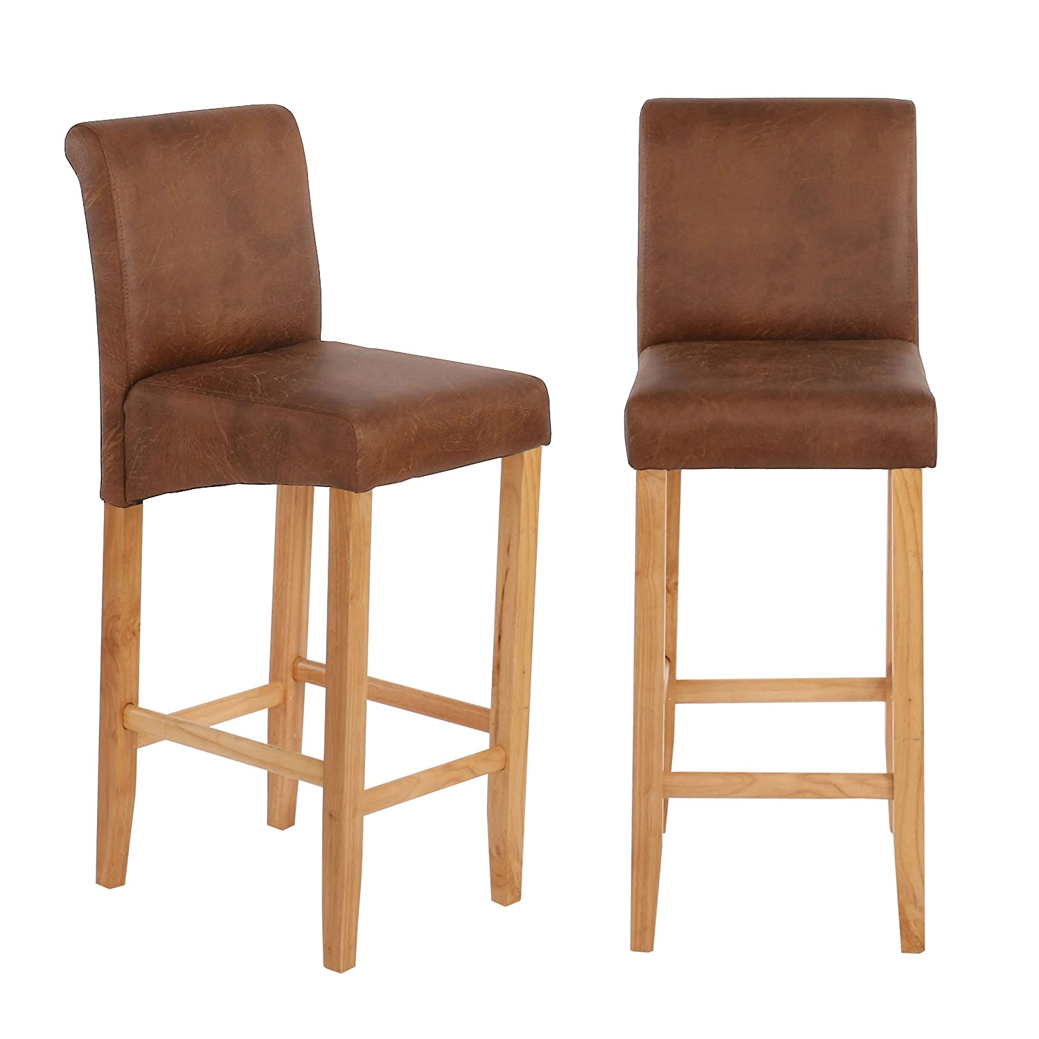 Lot de 2 tabourets de bar Lancy - similicuir ~ aspect daim marron - pieds clairs