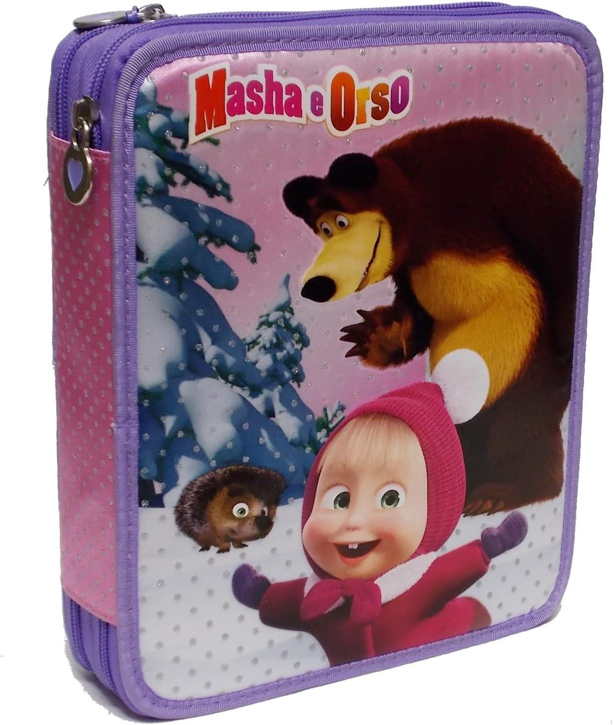 Maxi estuche Masha y Oso 2 cremalleras: Amazon.es: Oficina y papelería