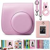 7 in 1 instax Mini 8 Instant Film Camera Accessories Bundles (Pink Instax Mini 8 Case/ Mini Album/ Close-Up Selfie Lens/ 4 colors Close-Up Lens/ Wall Hang Frames/3 inch Film Frame/ Film Stickers)