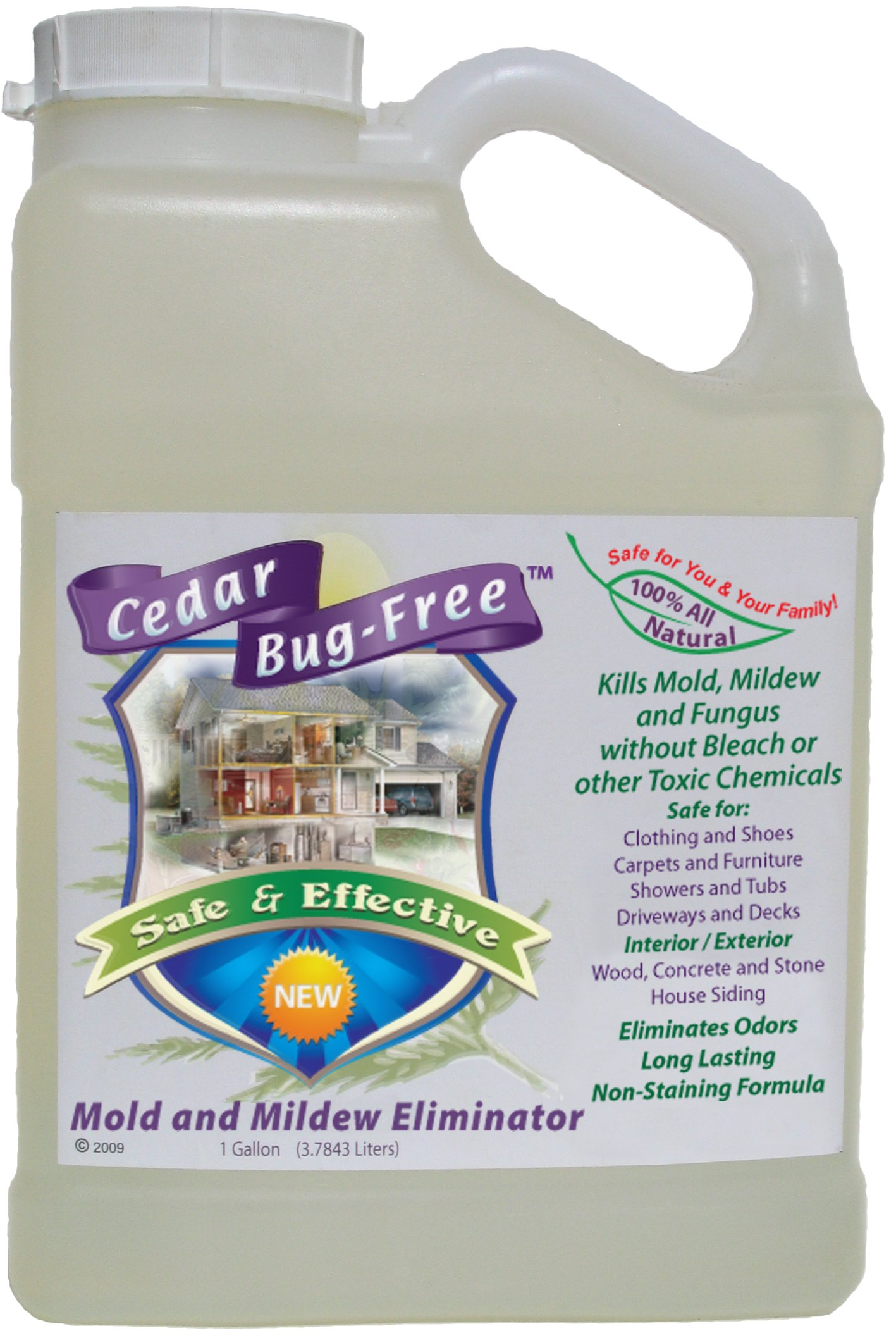 Mold and Mildew Remover - Cedar Bug-Free Mold and Mildew Eliminator. Natural Mold Killer - 1 gallon by Cedar Bug-Free