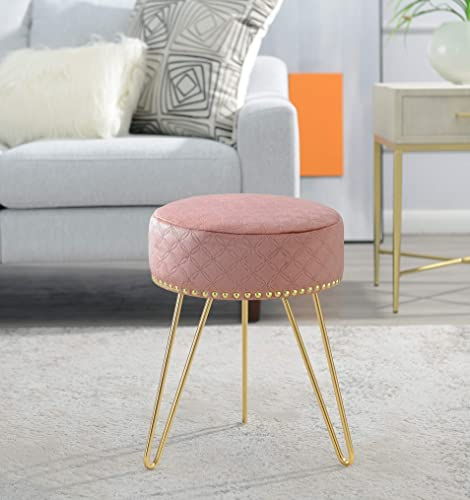 Comfortland Dust Pink Velvet Vanity Stool Chair