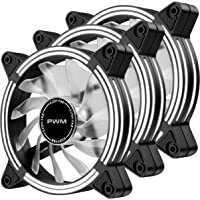 EZDIY-FAB 120mm PWM White LED Fan, Dual-Frame LED Case Fan for PC Cases, High Airflow Quiet and Radiators,4-Pin-3-Pack