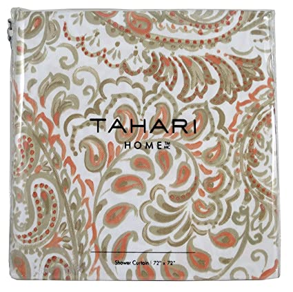 Tahari Fabric Shower Curtain Salmon Orange And Beige Paisley Floral Pattern Hayden