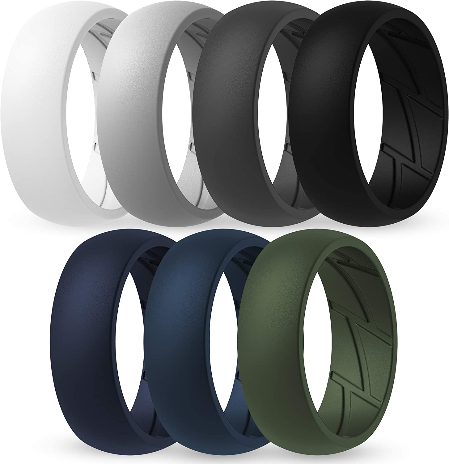 7 Rings // 4 Rings // 1 Ring Breathable Edition Rubber Engagement Bands 8.5mm Wide ThunderFit Silicone Wedding Rings for Men Breathable Airflow Inner Grooves 2.5mm Thick