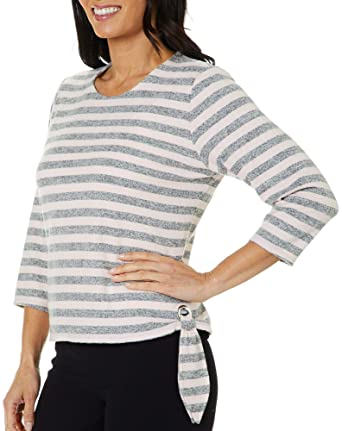 8d2815aaaa0970 Cathy Daniels Womens Striped Side Tie Top at Amazon Women's Clothing store: