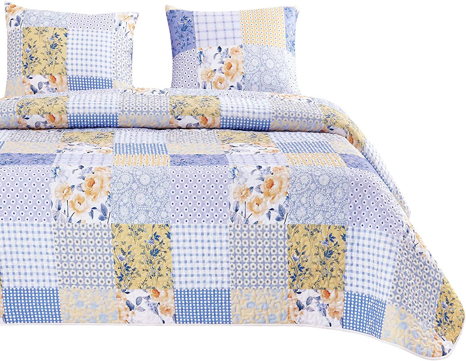 Wake In Cloud - Floral Patchwork Quilt Set, Flowers Botanical Plant Geometric Motif Pattern in Bluish Purple Yellow White, Soft Microfiber Bedspread Coverlet Bedding (3pcs, Queen Size)