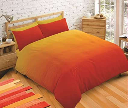 44a0461dbbe IHIdirect King Size Printed Ombre Gradient Solid Orange Duvet Cover &  Pillowcase Bedding Set: Amazon.co.uk: Kitchen & Home