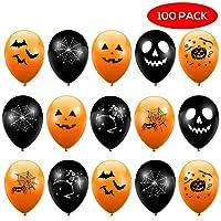 THE TWIDDLERS 100 Palloncini in Lattice di Alta qualità Arancioni e Neri. Decorazione Perfetta per Le Feste di Halloween.