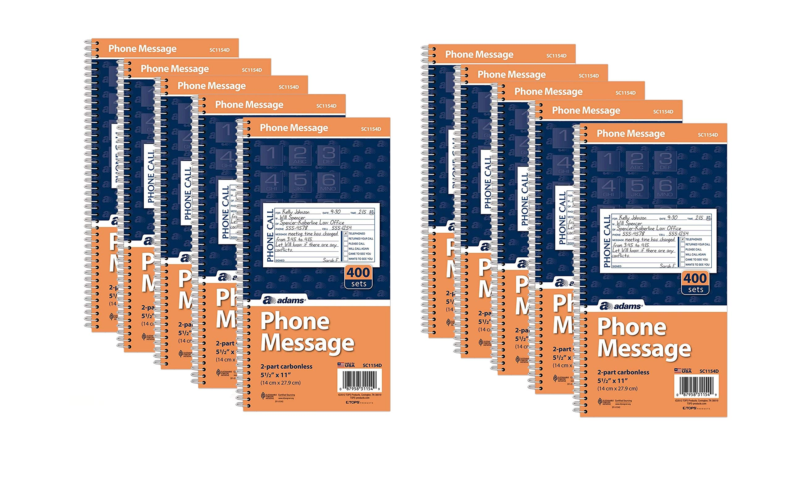 Adams Phone Message Book, Carbonless Duplicate, 5.50 x 11 Inches, 4 Sets per Page, 400 Sets per Book, Pack Of 10 (SC1154D)