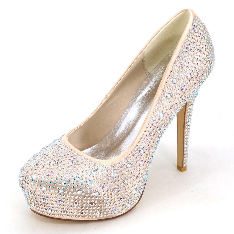Champagne Elobaby Femmes Chaussures De Mariage Strass Chunky Strass Bout fermé Pointe Ronde Ivoire Talons Hauts Talon de 12.5cm 40 EU