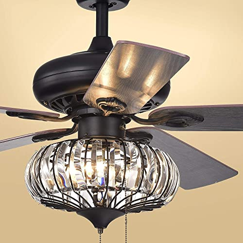 "Sweety House 52 ""Ceiling Fan 3 Lights 5 Leaves Drawstring Fan Chandelier"