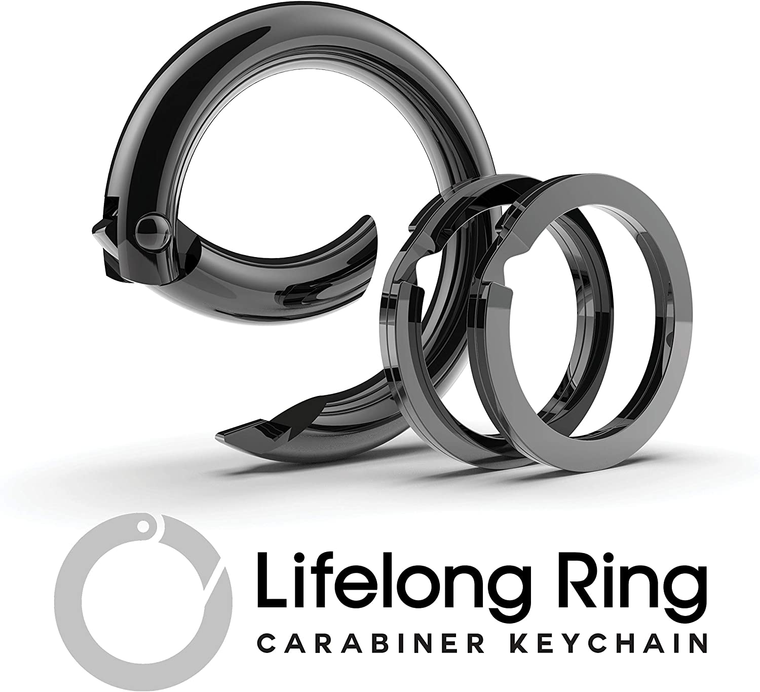 Lifelong Ring Fashion Carabiner Keychain w/ 2 Matching Key Rings Set, 100 Series Universal Size, Pure Round Circle Design, Strong, Solid Metal Keychain Clip, Key Clip, Key Organizer (Black)