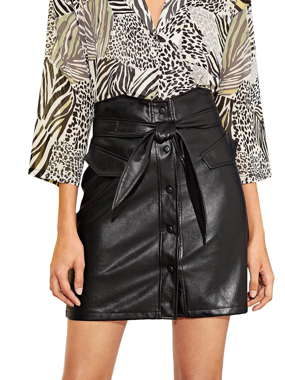 Black2 WDIRARA Women's Elegant High Waist Self Adjustable Belted PU Short Skirt