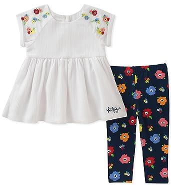 7d84da108b1 Tommy Hilfiger Baby Girls Leggings Set, White/Navy Print, 3-6 Months