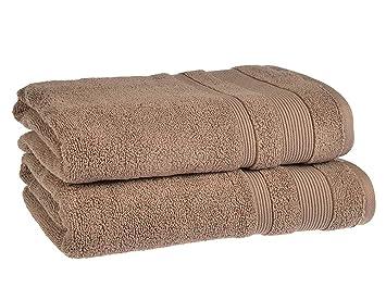 Toalla de tela egipcia muy suave sin girones (cara, mano, bañera, toalla, alfombra de baño), algodón egipcio, moca, 2x Bath Towels: Amazon.es: Hogar