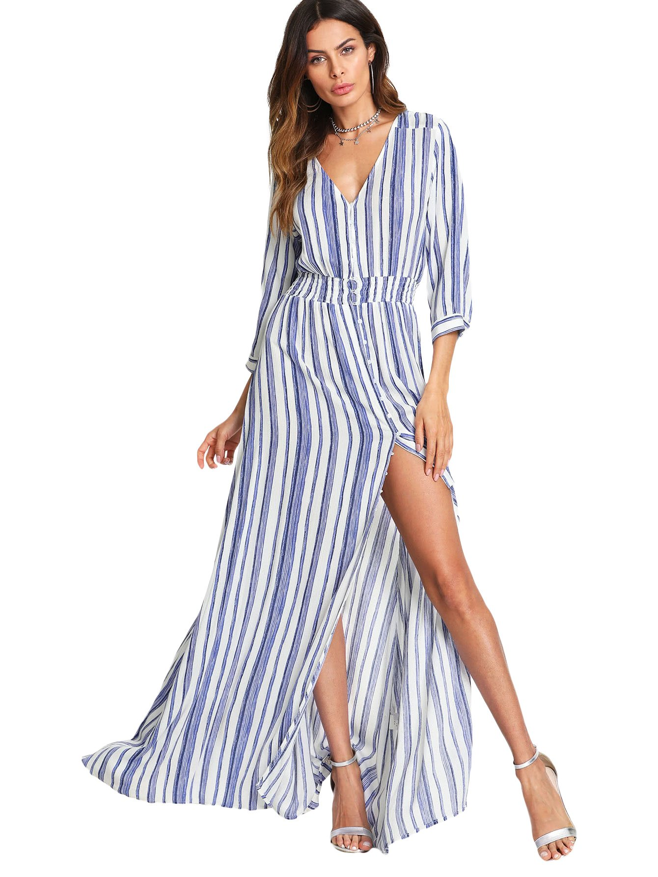 Milumia Stripe Dress, Women Smocked Waist 3 4 Sleeves Button up Summer Chic Blue and White S by Milumia (Image #4)