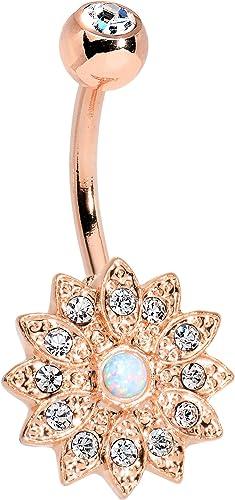 Rosegold ombligo flor /& cristales-acero inoxidable de alta calidad 1,6