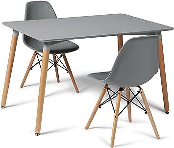 Your Price Furniture Grau Eiffel Designer Esstisch Set 2 Stuhle Und