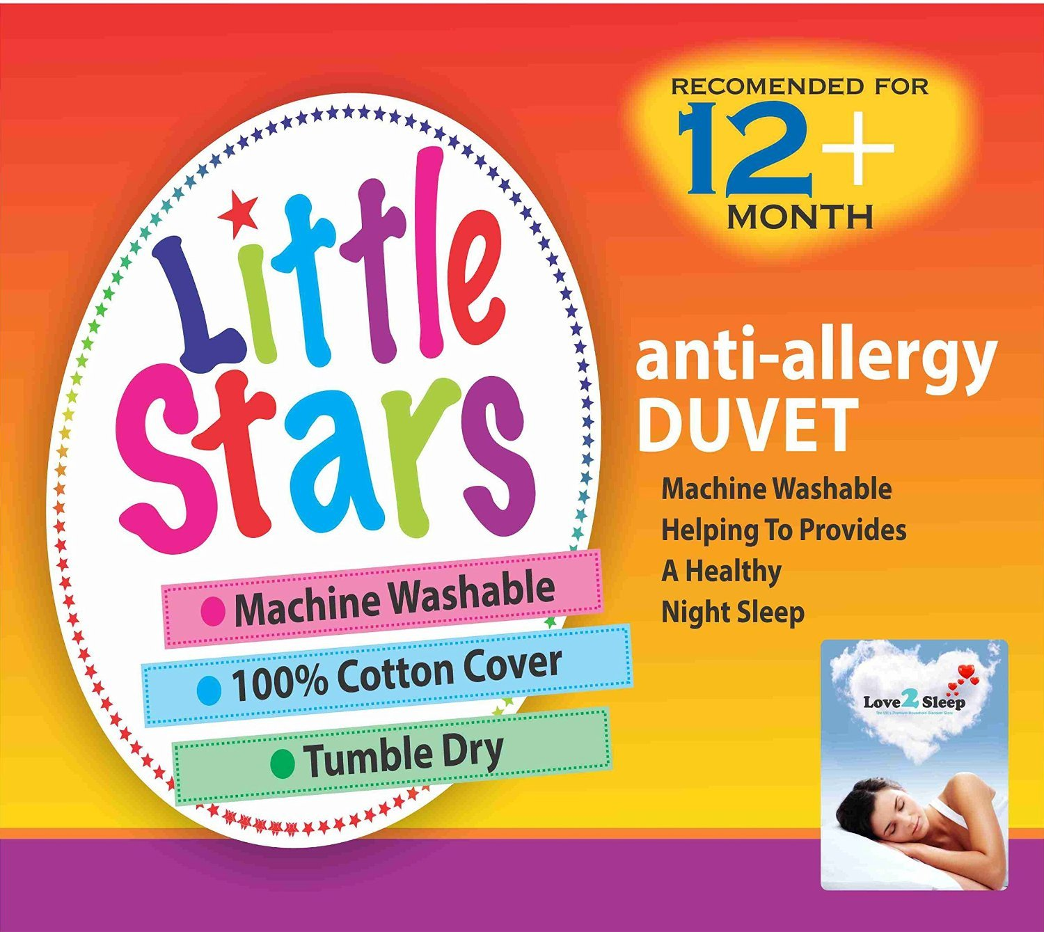 Love2Sleep LITTLE STARS ANTI ALLERGY SOFT HOLLOWFIBRE COT DUVET 100 X 120 TOG : 9.0 TOG AND ONE COT PILLOW 40 X 60 CM