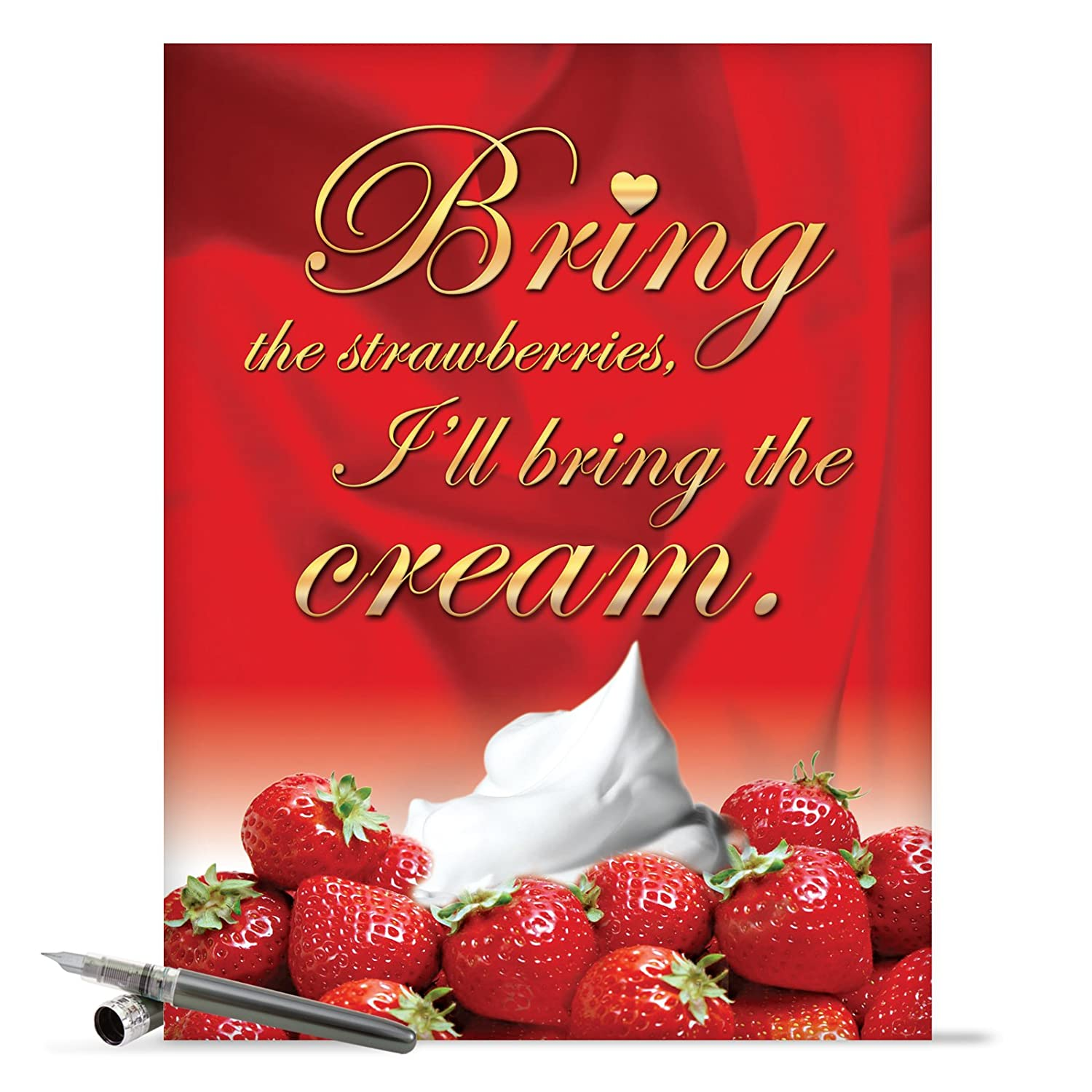 J2158 Jumbo Funny Valentine's Day Card: Strawberries and Cream With Envelope (Extra Large Version: 8.5'' x 11'')
