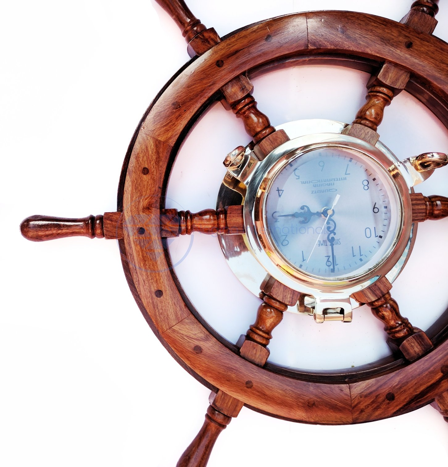24'' Premium Porthole Clock Ship Wheel With Solid Teak Finish - Captain Maritime Beach Home Decor Gift - Nagina International