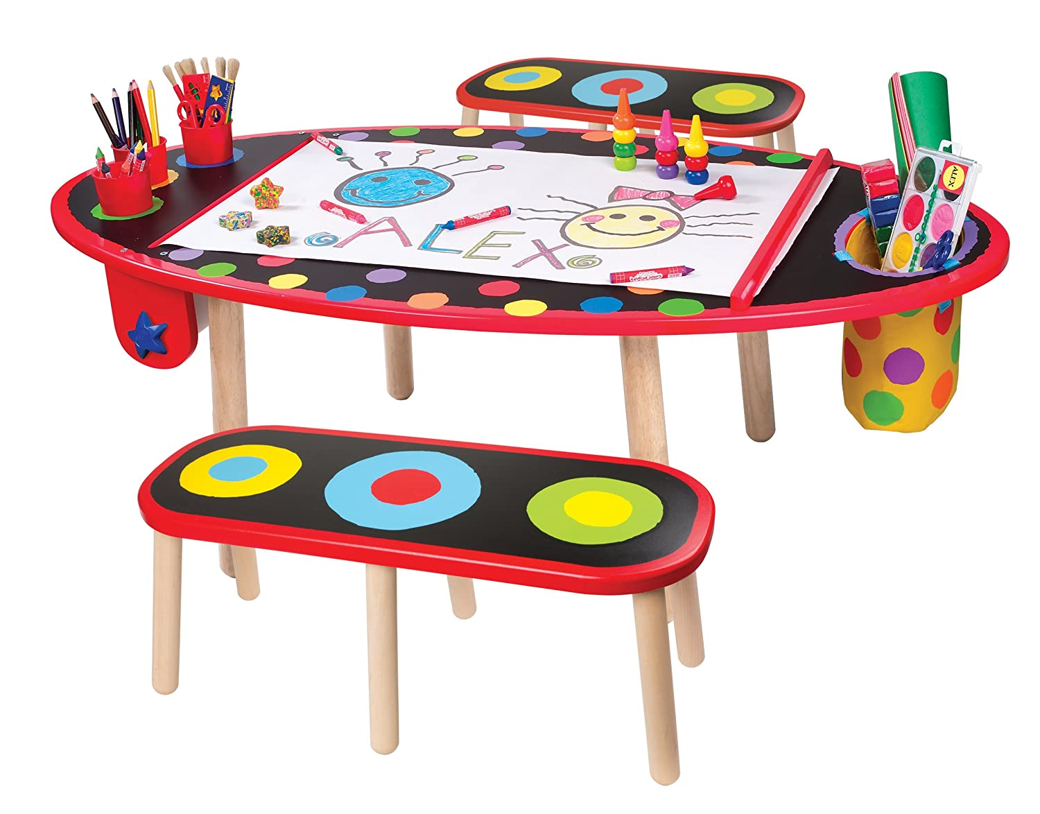 children's art table with paper roll