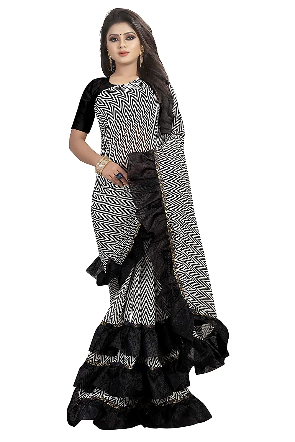 95172edf1ddb37 SilverStar Women's Georgette Black And White Zebra Color Printed Saree With  Black Color Ruffle Layer And Blouse piece: Amazon.in: Clothing & Accessories