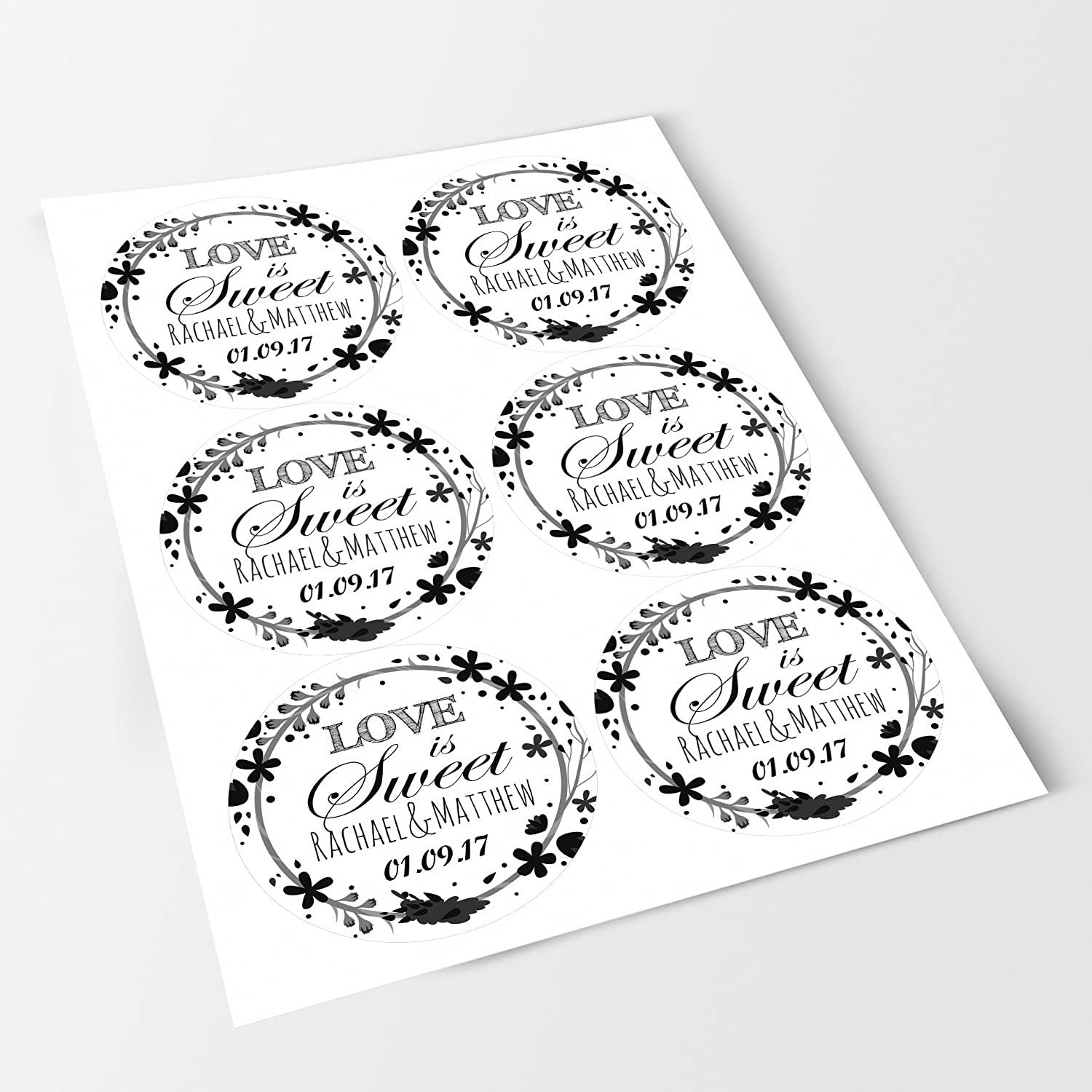 Sweet Cones Favours Presentations Gift Boxes Wedding Elegant White Sticker Labels Personalised Seals Ideal for Party Bags Jars Bottles Crafts