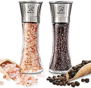 Soeos Stainless Steel Salt and Pepper Grinder Set (With Salt&Pepper), Whole Black Peppercorns 100g + HImalayan Pink Salt 230g, Premium Pepper Mill, Pepper Grinder, Salt and Pepper Grinder Set.