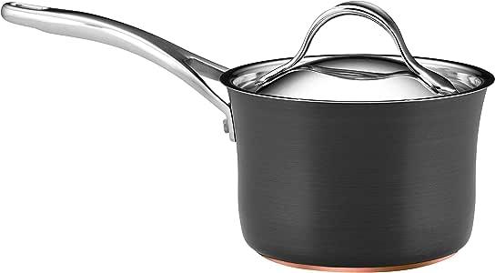 Anolon Nouvelle Copper Hard Anodized Nonstick Sauce Pan/Saucepan with Lid, 2 Quart, Gray