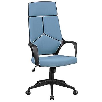 Bürostuhl ergonomisch höhenverstellbar  AMSTYLE Bürostuhl TECHLINE Bezug Stoff Blau Schreibtischstuhl ...