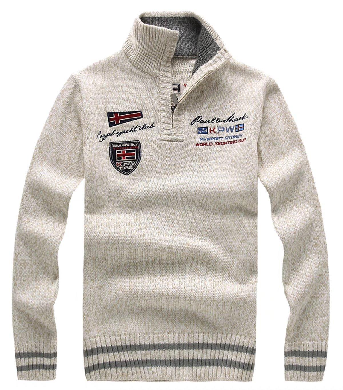 EMAOR Mens Casual 1/4 Zipper Knit Pullover Sweater