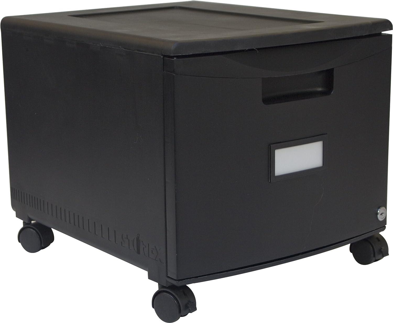 Storex Plastic 1-Drawer Mobile File Cabinet, Letter/Legal, Black