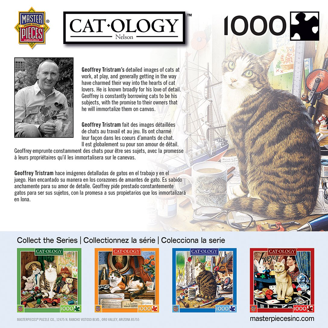 MasterPieces Cat-Ology Nelson - Curious Cat 1000 Piece Jigsaw Puzzle by Geoffrey Tristram